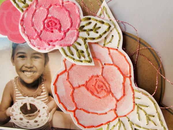 Grateful Sewing Detail, @Colortypes Sophie @CliqueKits, #cliquekits #scrapbooking #DIY #CKhomecoming