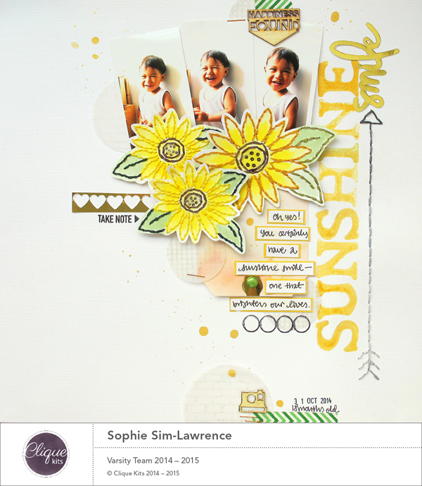 Sunshine Smile, @Colortypes Sophie @CliqueKits, #Cliquekits #scrapbooking #DIY #CKhomecoming