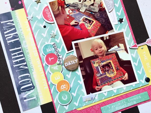 Create Happiness layout, @Danielle de Konink, @Cliquekits, #cliquekits #scrapbooking #DIY #EnchantedMeadow