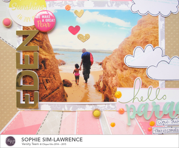 Hello Paradise 2 FN, @colortypes sophie @clique kits @pinkpaislee @colorcastdesigns, #colorcastdesigns  #cliquekits #inspiration #scrapbooking # pinkpaislee #papercraft
