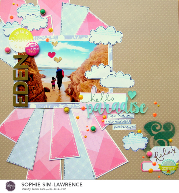 Hello Paradise FN, @colortypes sophie @clique kits @pinkpaislee @colorcastdesigns, #colorcastdesigns #cliquekits #inspiration #scrapbooking # pinkpaislee #papercraft
