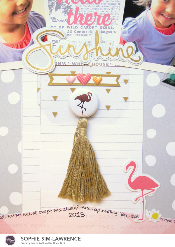 Hello There Sunshine 4 FN, @colortypes sophie @clique kits @pinkpaislee, #cliquekits #inspiration #scrapbooking # pinkpaislee #papercraft
