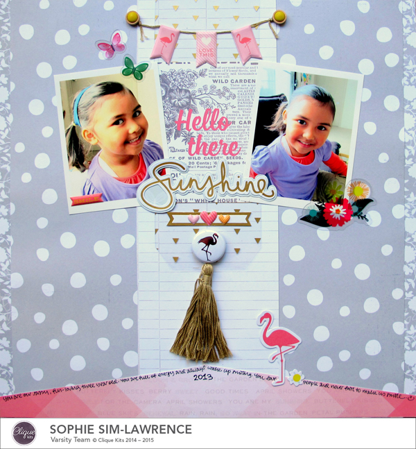 Hello There Sunshine FN, @colortypes sophie @clique kits @pinkpaislee, #cliquekits #inspiration #scrapbooking # pinkpaislee #papercraft