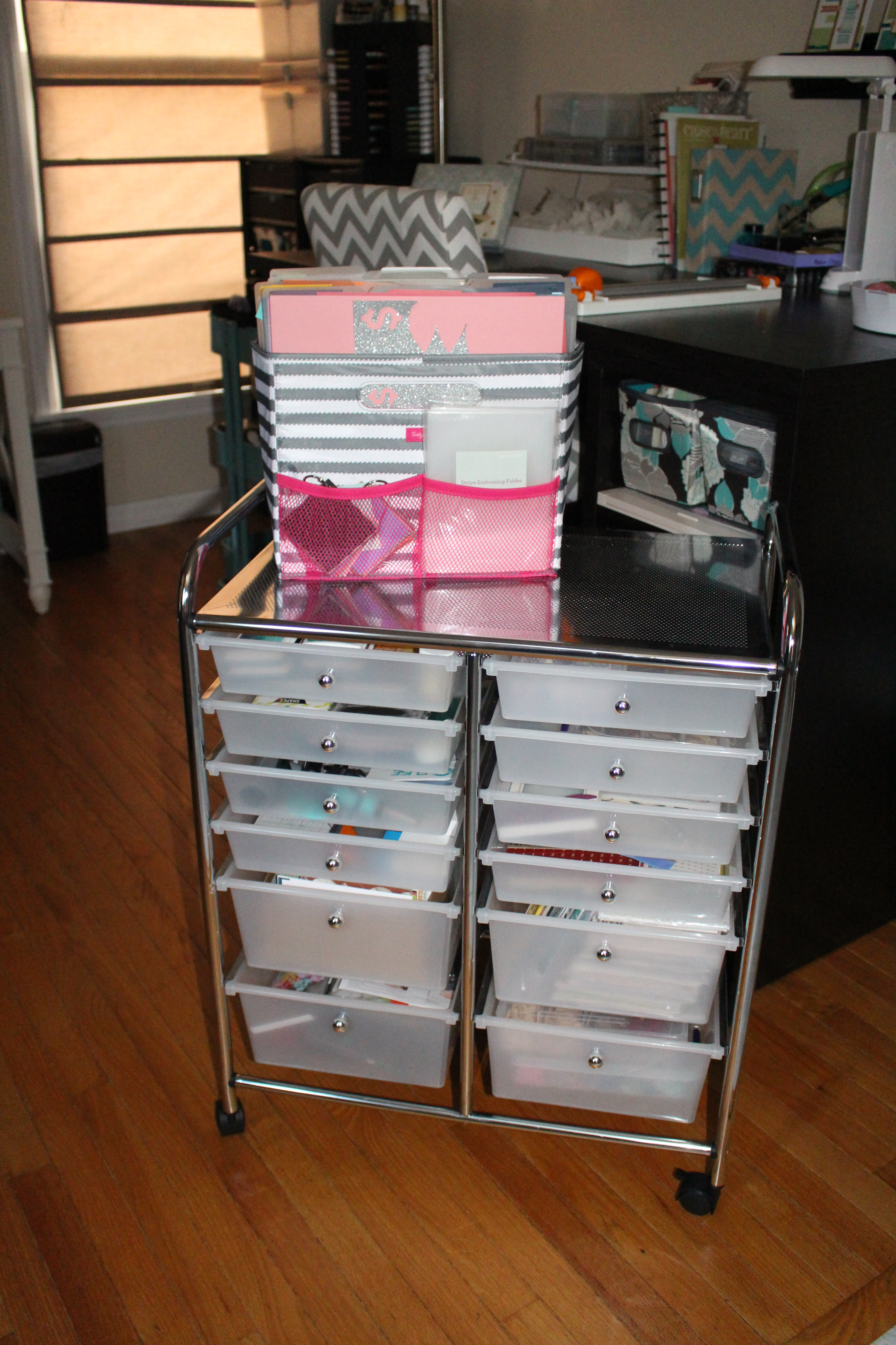 I even managed to squeeze in a space for my daughter whom I fondly refer to as Miss Munchkin. She has plastic drawer storage under my Cricut desk as well ... & Share Your Space: For the Love of Scrap | Clique Kits