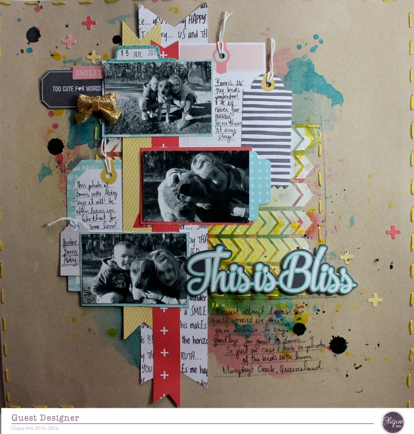 this is bliss layout by Bernii Miller for Clique Kits Alegria Kit. 1