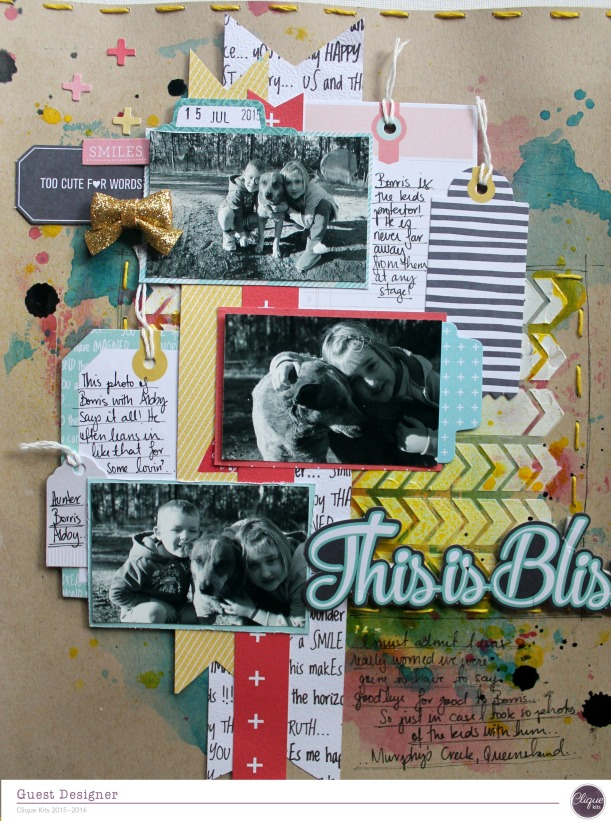 this is bliss layout by Bernii Miller for Clique Kits Alegria Kit. 4