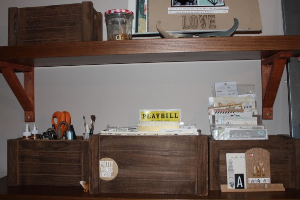 shelves above