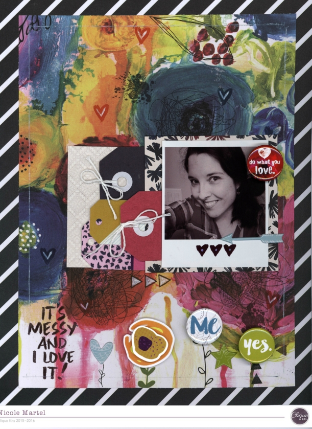 IT'S MESSY AND I LOVE IT_Fancy Pants Designs_Clique Kits_Nicole Martel_Precious Remembrance shop_stamping